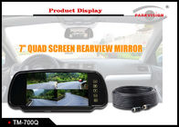 7 Inch Quad Screen Car Rearview Mirror Monitor 4 Way Inputs For Mini Bus / RV / Van / Trailer